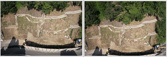 マルチコプターから撮影した撮影位置の異なる2枚の写真